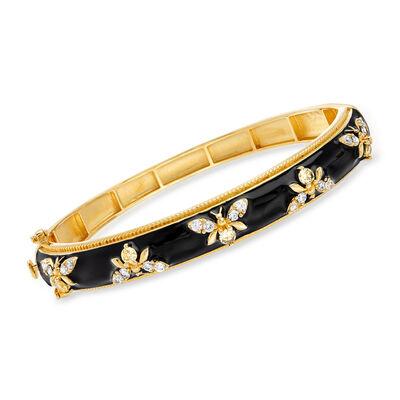 1.40 ct. t.w. White Topaz and Black Enamel Bumblebee Bangle Bracelet