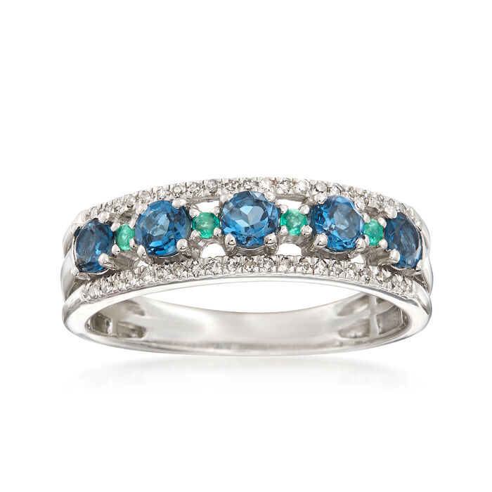 .60 ct. t.w. London Blue Topaz and .13 ct. t.w. Diamond Ring With Emerald Accents in Sterling, , default