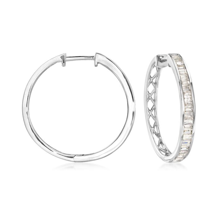 "2.00 ct. t.w. Diamond Hoop Earrings in 14kt White Gold. 1 1/8"", , default"