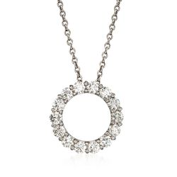 "Roberto Coin 1.25 ct. t.w. Diamond Circle Necklace in 14kt White Gold. 16"", , default"