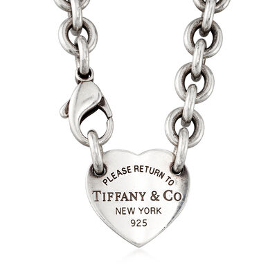 C. 1990 Vintage Tiffany Jewelry Sterling Silver Heart Link Necklace, , default