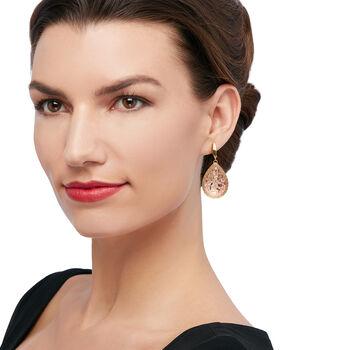 Italian Teardrop Earrings in 14kt Two-Tone Gold, , default