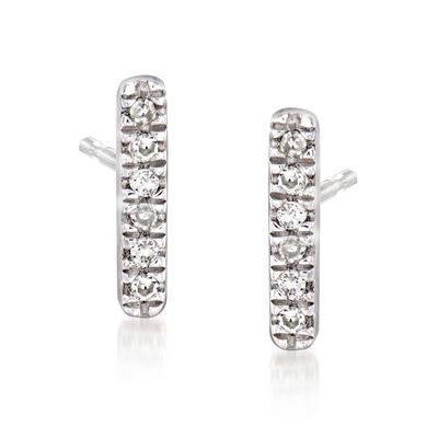 Diamond-Accented Linear Bar Earrings in Sterling Silver