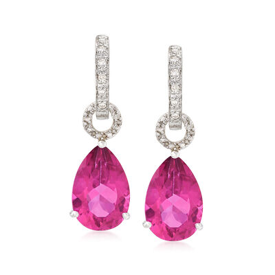 6.50 ct. t.w. Pink Topaz Removable Drop Hoop Earrings with Diamond Accents in Sterling Silver, , default