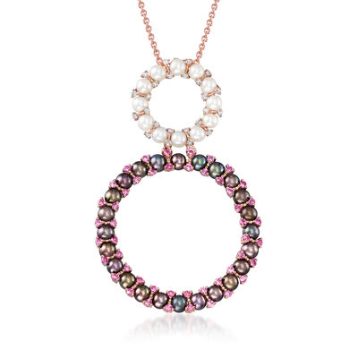 C. 1990 Vintage Roberta Porrati 3mm Cultured White Pearl, 3mm Cultured Black Pearl, .72 ct. t.w. Pink Sapphire and .13 ct. t.w. Diamond Necklace in 18kt Rose Gold, , default