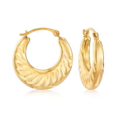 Andiamo 14kt Yellow Gold Scalloped Hoop Earrings, , default