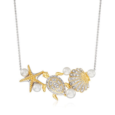 4-5.5mm Cultured Pearl and .14 ct. t.w. Diamond Sea Life Necklace in Sterling Silver and 18kt Gold Over Sterling