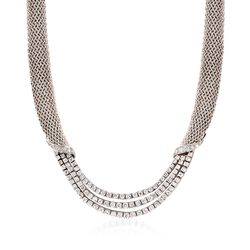 "C. 1980 Vintage Tiffany Jewelry 5.50 ct. t.w. Diamond Mesh Necklace in Platinum and 18kt White Gold. 16"", , default"