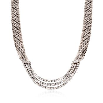 """C. 1980 Vintage Tiffany Jewelry 5.50 ct. t.w. Diamond Mesh Necklace in Platinum and 18kt White Gold. 16"""", , default"""