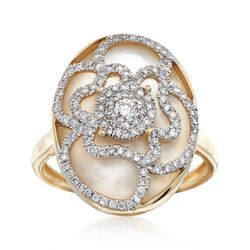 Mother-Of-Pearl and .50 ct. t.w. Diamond Flower Ring in 14kt Yellow Gold, , default
