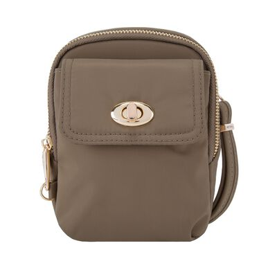 "Travelon ""Anti-Theft Tailored"" Sable Nylon Twill Crossbody Phone Pouch"