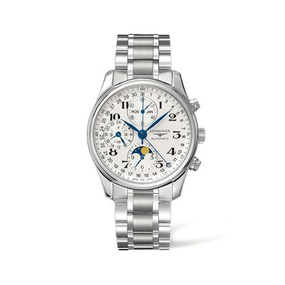 Longines Master Men's 40mm Auto Chronograph Stainless Steel Watch with Moon Phase, , default