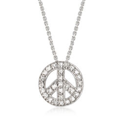 .10 ct. t.w. Diamond Peace Sign Necklace in 14kt White Gold, , default