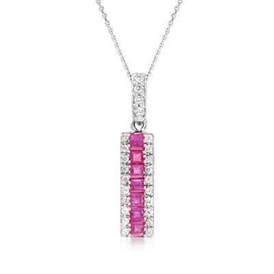 .40 ct. t.w. Ruby and .15 ct. t.w. Diamond Pendant Necklace in 14kt White Gold, , default