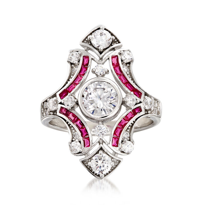 1.50 ct. t.w. CZ and .20 ct. t.w. Simulated Ruby Ring in Sterling Silver