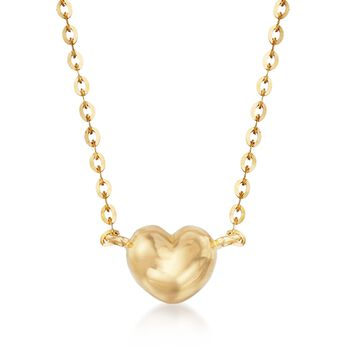 "18kt Yellow Gold Heart Necklace. 18"", , default"