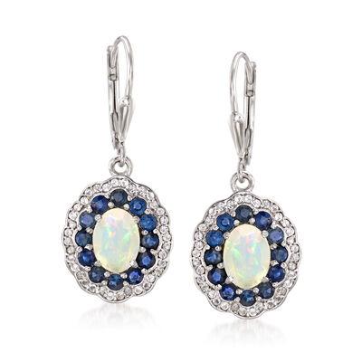 Opal, 1.30 ct. t.w. Sapphire and .30 ct. t.w. Topaz Drop Earrings in Sterling Silver, , default