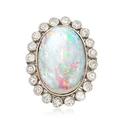 C. 1950 Vintage Opal and .75 ct. t.w. Diamond Halo Ring in Platinum. Size 6.5, , default