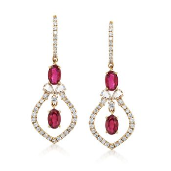 1.60 ct. t.w. Ruby and 1.03 ct. t.w. Diamond Openspace Drop Earrings in 14kt Yellow Gold , , default