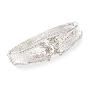 .15 ct. t.w. Diamond Cluster Bangle Bracelet in Sterling Silver, , default