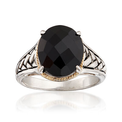 Oval Black Onyx Braid Ring in Sterling Silver and 14kt Yellow Gold