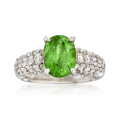 C. 1980 Vintage 3.15 Carat Sphene and 1.21 ct. t.w. Diamond Ring in Platinum