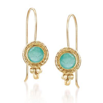.50 ct. t.w. Bezel-Set Emerald Drop Earrings in 14kt Yellow Gold, , default