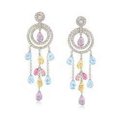 C. 1990 Vintage 3.30 ct. t.w. Multi-Stone and 1.20 ct. t.w. Diamond Circle Drop Earrings in 18kt White Gold, , default