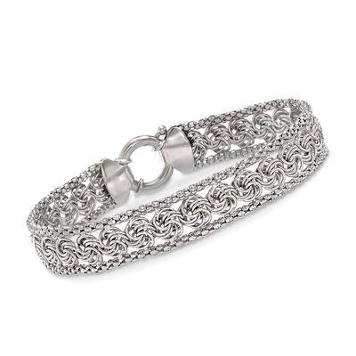 Rosetta and Popcorn-Link Bracelet in Sterling Silver, , default