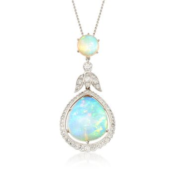 """C. 2000 Vintage Opal and 3.10 ct. t.w. Diamond Double Drop Pendant Necklace in 14kt and 18kt Gold. 18"""", , default"""