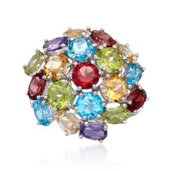 6.55 ct. t.w. Multi-Stone Cluster Ring in Sterling Silver, , default
