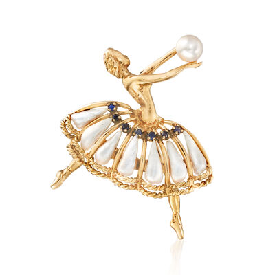 C. 1970 Vintage Cultured Pearl and .25 ct. t.w. Sapphire Ballerina Pin in 14kt Yellow Gold, , default