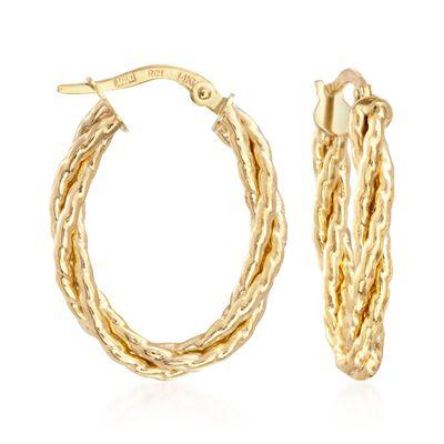 Italian 14kt Yellow Gold Twisted Oval Hoop Earrings, , default