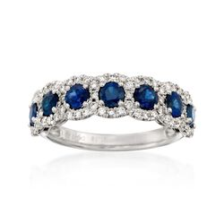 1.15 ct. t.w. Sapphire and .40 ct. t.w. Diamond Ring in 14kt White Gold, , default