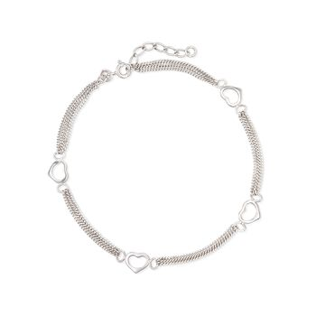 "Sterling Silver Heart Station Anklet. 9"", , default"