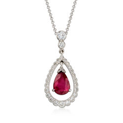 C. 2000 Vintage 1.99 Carat Ruby and .50 ct. t.w. Diamond Pendant Necklace in 18kt White Gold    , , default