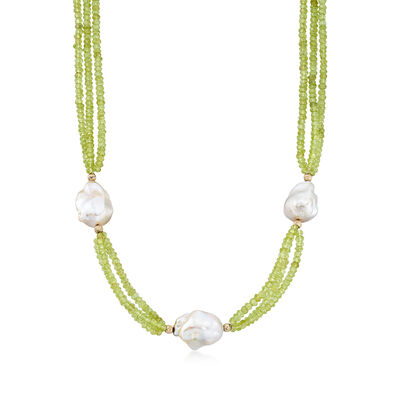 Cultured Baroque Pearl and 70.00 ct. t.w. Peridot Triple-Strand Necklace, , default