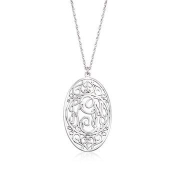 "Sterling Silver Oval Scrollwork Monogram Pendant Necklace. 18"", , default"