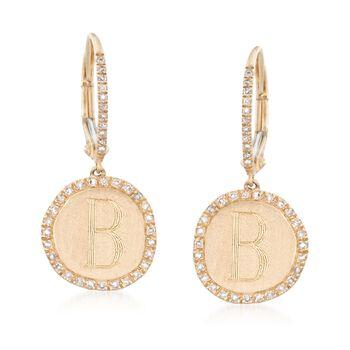 .24 ct. t.w. Diamond Single Initial Disc Drop Earrings in 14kt Yellow Gold, , default