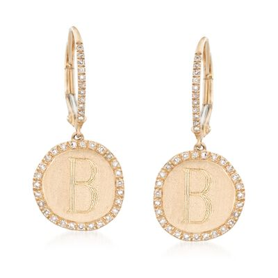.24 ct. t.w. Diamond Single Initial Disc Drop Earrings in 14kt Yellow Gold, , default