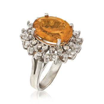 C. 1995 Vintage 6.90 Carat Citrine and 1.25 ct. t.w. Diamond Ring in 14kt White Gold. Size 6, , default