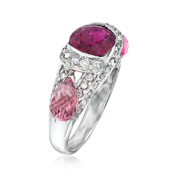 """C. 2000 Vintage 5.75 ct. t.w. Pink Tourmaline and .65 ct. t.w. Diamond Dangle Ring in 18kt White Gold. 6.5"""", , default"""