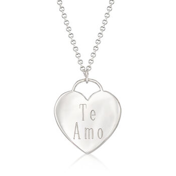"""Sterling Silver Heart-Shaped """"I Love You"""" Pendant Necklace"""