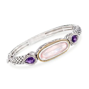 "Andrea Candela Rose Quartz and 2.50 ct. t.w. Amethyst Bracelet in Sterling Silver and 18kt Gold. 7"", , default"