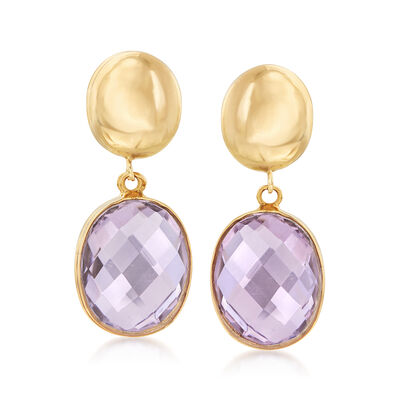 5.00 ct. t.w. Amethyst Drop Earrings in 14kt Yellow Gold, , default