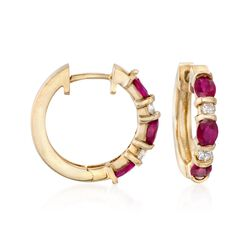 "1.50 ct. t.w. Ruby and .20 ct. t.w. Diamond Hoop Earrings in 14kt Yellow Gold. 5/8"", , default"