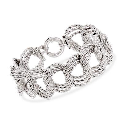 Italian Sterling Silver Triple Twisted-Link Bracelet, , default