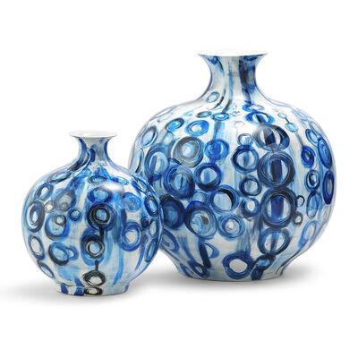 Set of 2 Blue Circle Porcelain Vases, , default