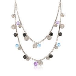 "C. 2000 Vintage 9.80 ct. t.w. Blue Topaz and 8.80 ct. t.w. Amethyst Bead Necklace in Sterling Silver. 17"", , default"