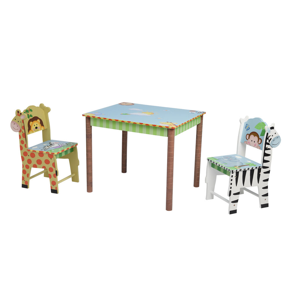 Swell Childs Sunny Safari 3 Pc Wooden Set Table And 2 Chairs Gmtry Best Dining Table And Chair Ideas Images Gmtryco